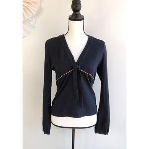 Burberry London Black Long Sleeve Shirt With Tie